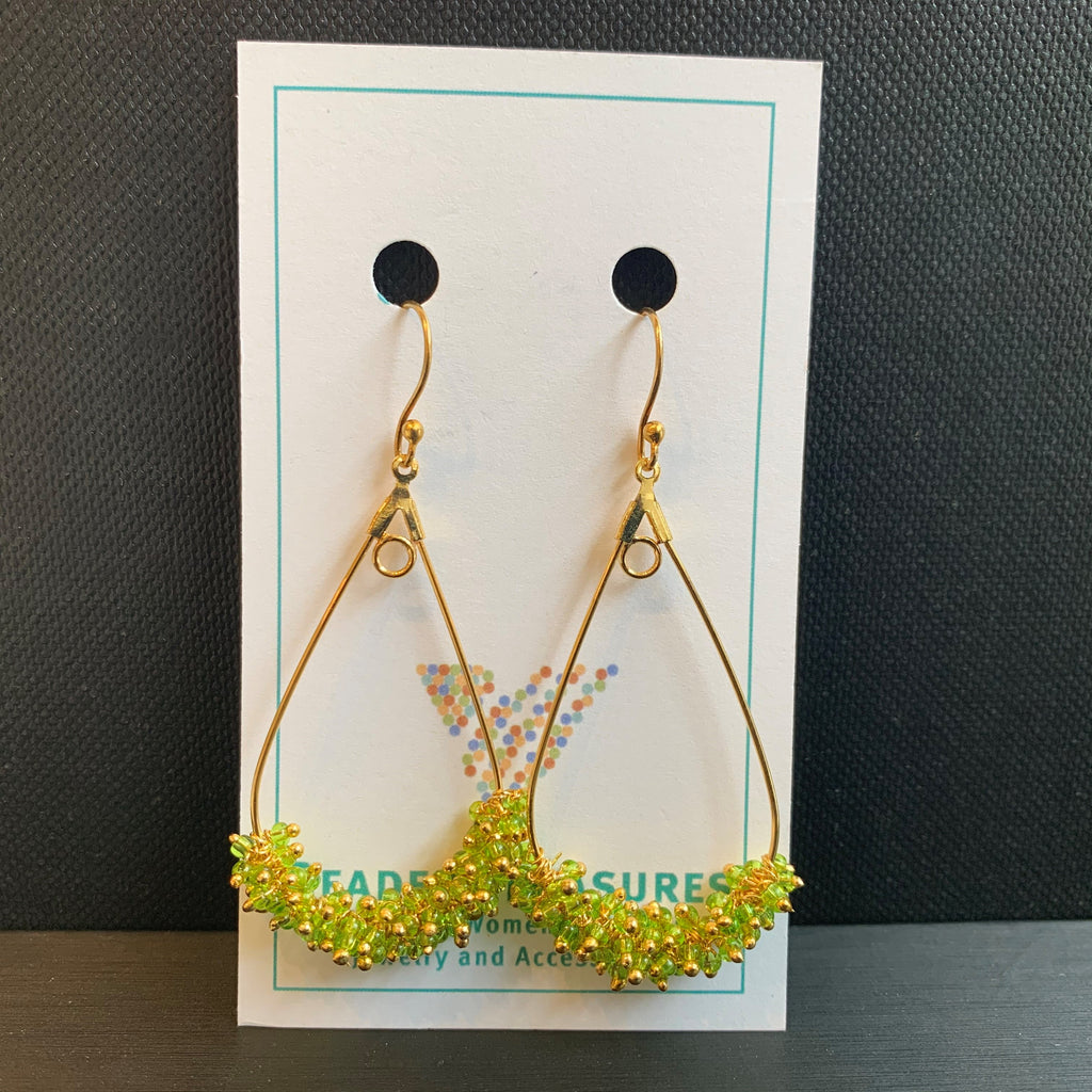 Apple Green & Gold Teardrop Hoops