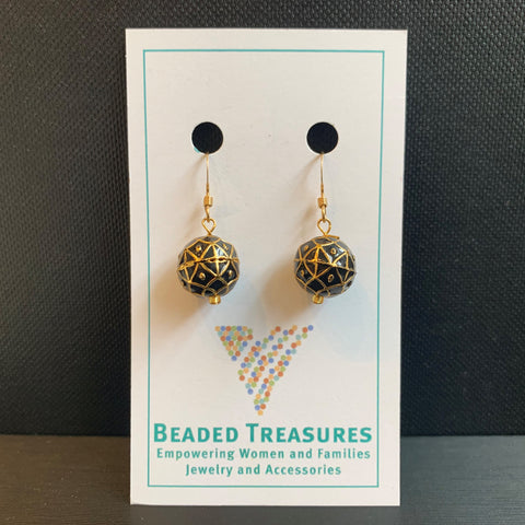 Black with Gold Dots Meena Ball Earrings