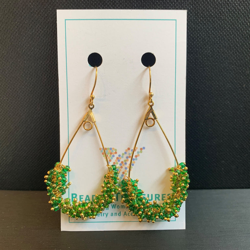 Green & Gold Teardrop Hoops
