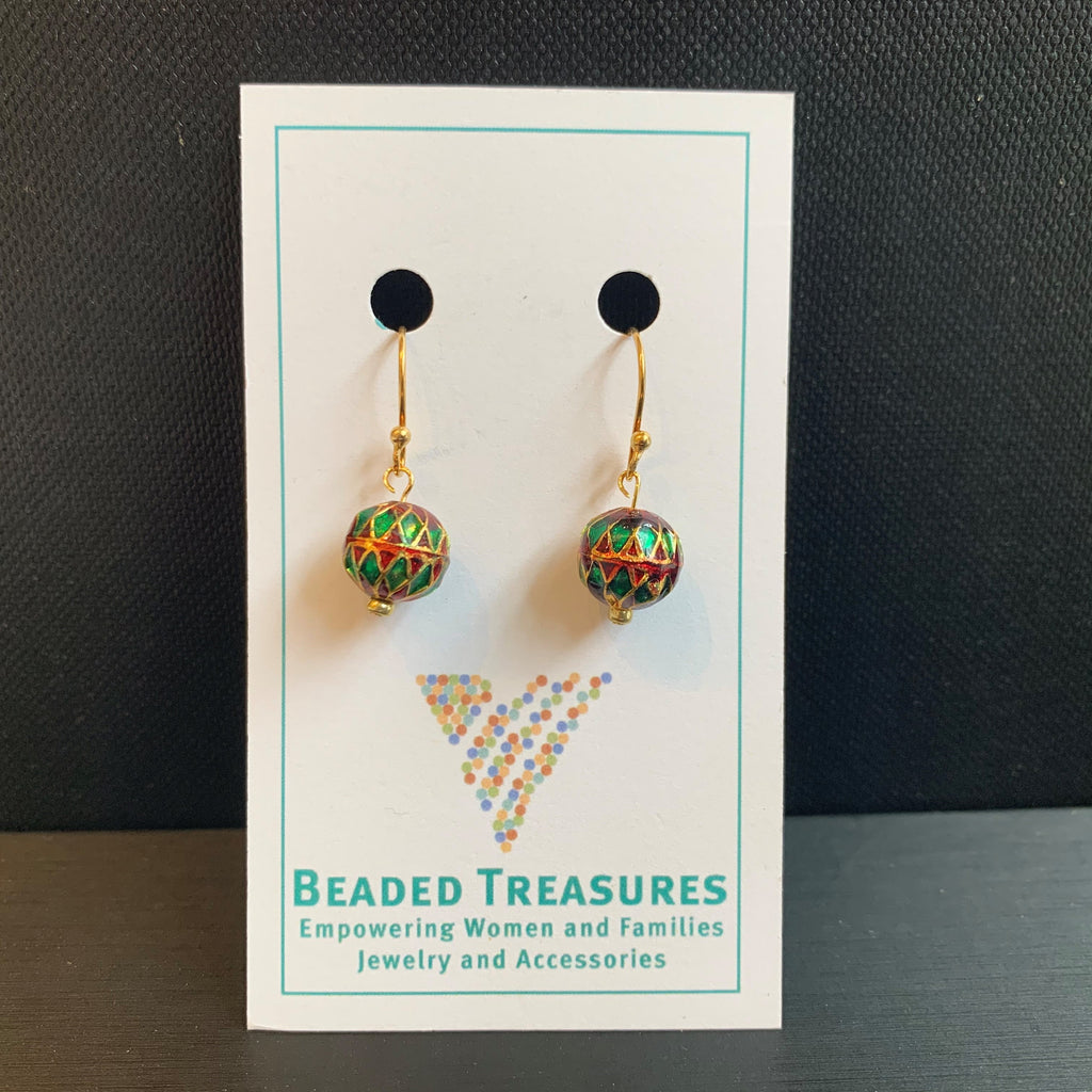 Meena Red and Green Ball Earrings