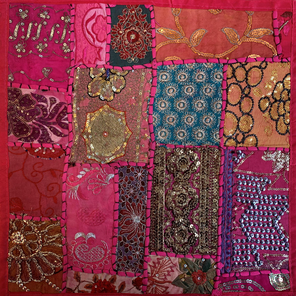 Indian Patchwork Pillow - Pink 1