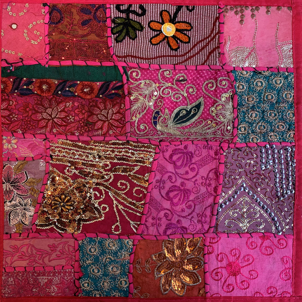 Indian Patchwork Pillow - Pink 5