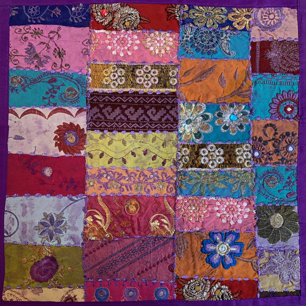 Indian Patchwork Pillow - Purple 3