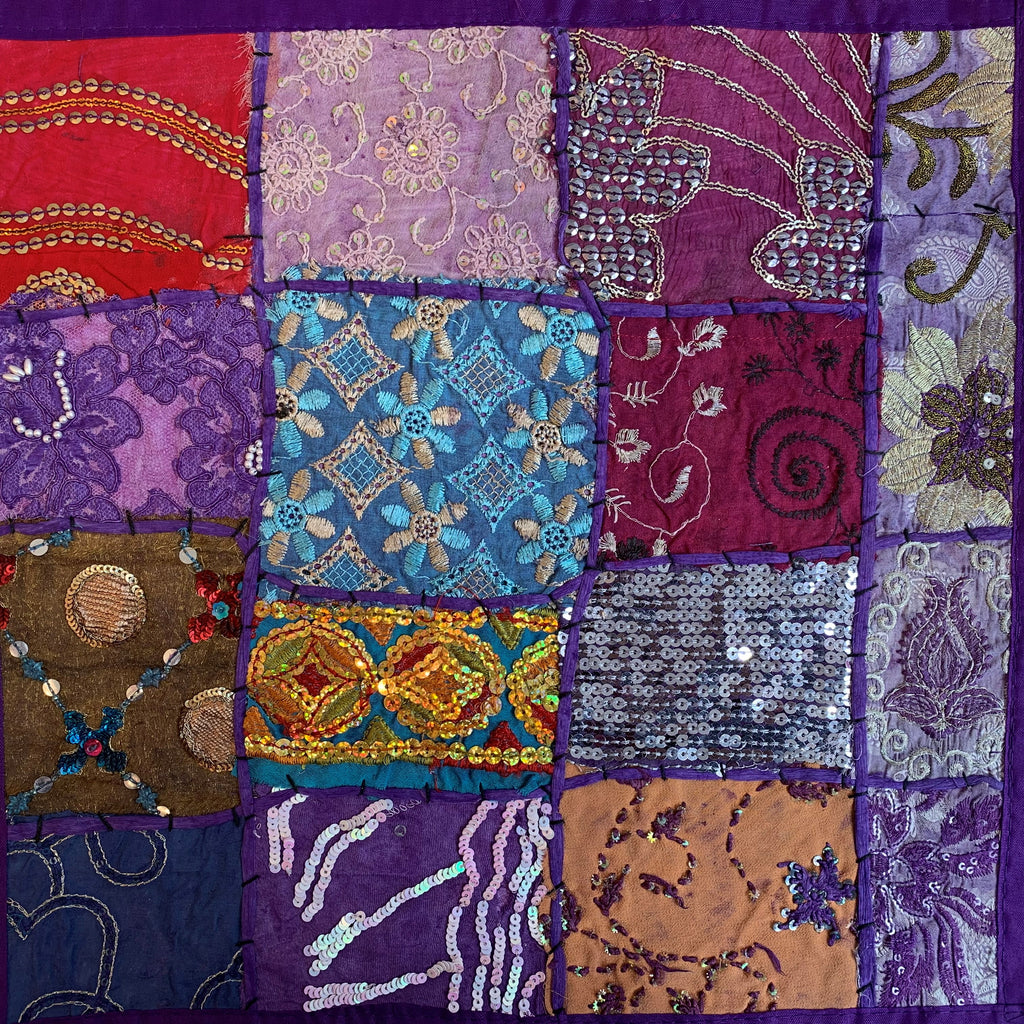 Indian Patchwork Pillow - Purple 7