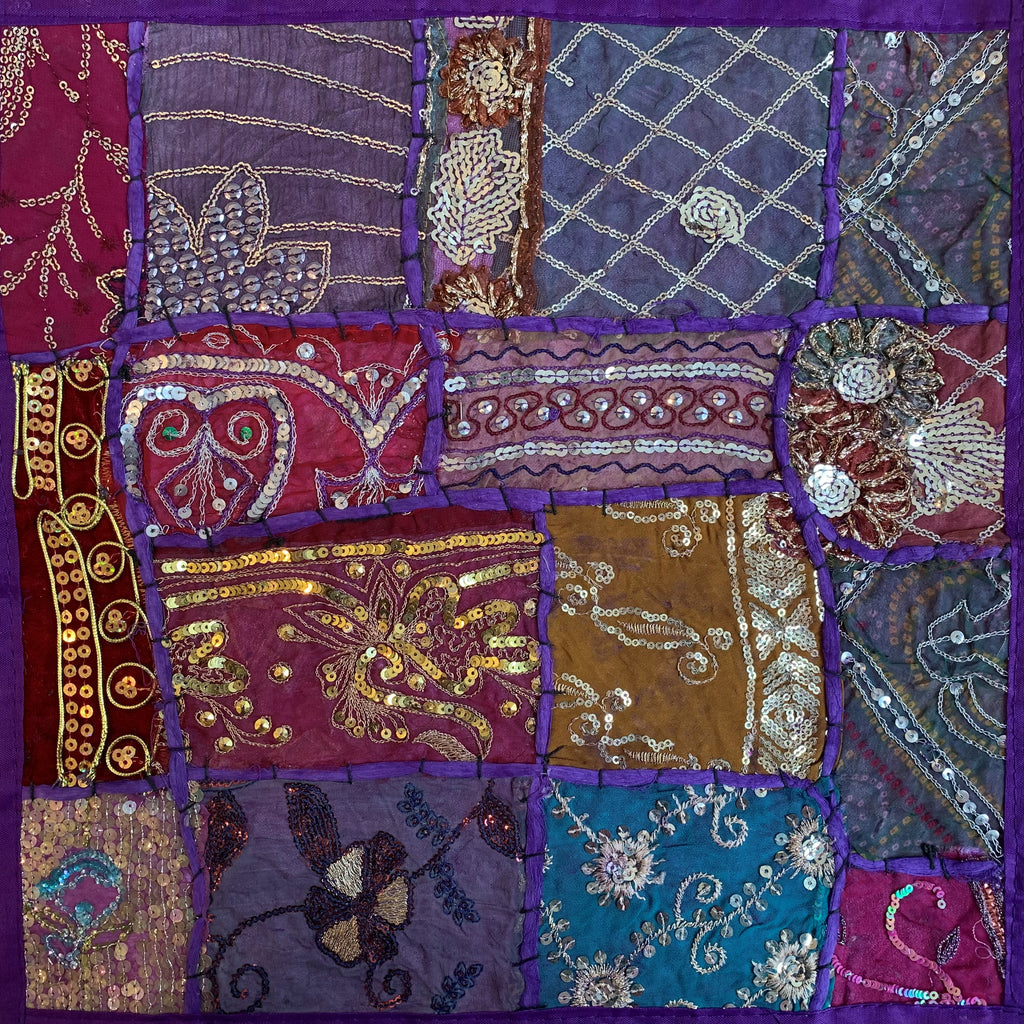 Indian Patchwork Pillow - Purple 8