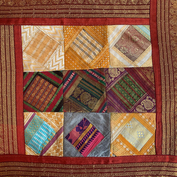 Indian Patchwork Sari Pillow - Orange 1
