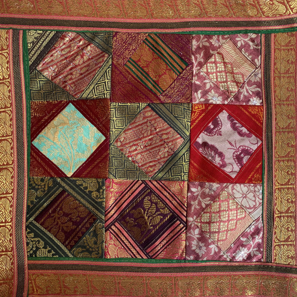 Indian Patchwork Sari Pillow - Red 1