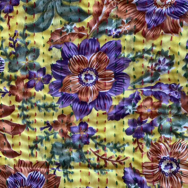 Floral Yellow Kantha Quilt
