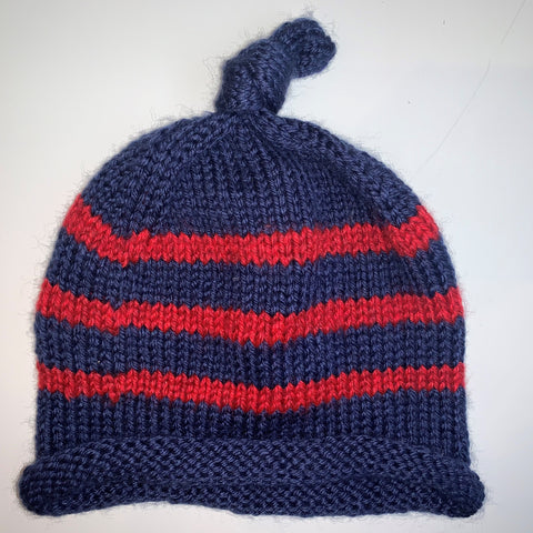 Blue & Red Knitted Child Hat