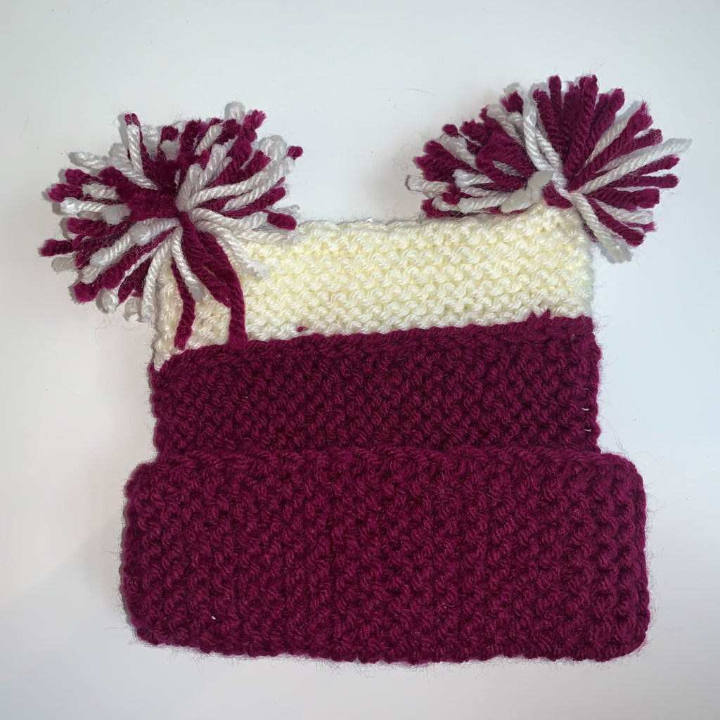 Magenta & White Knitted Child Hat