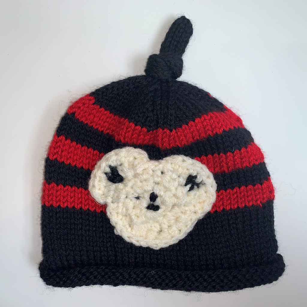 Navy Blue & Red Knitted Child Hat
