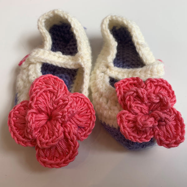 Purple Knitted Baby Shoes
