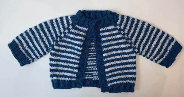 Blue & White Knitted Baby Sweater