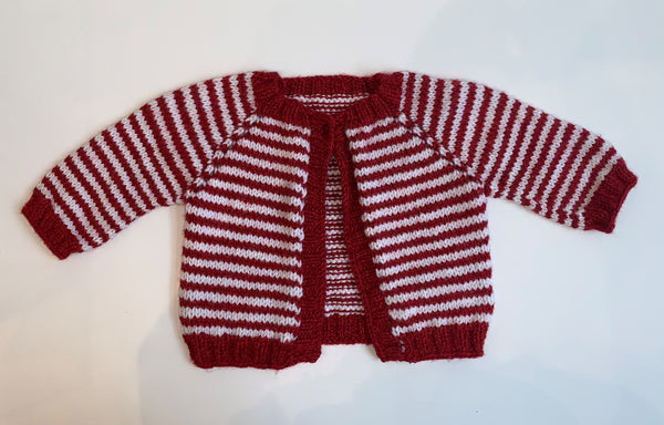 Red & White Knitted Baby Sweater