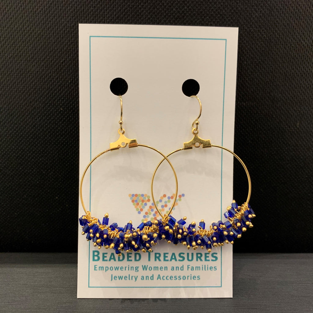 Blue & Gold Large Hoops