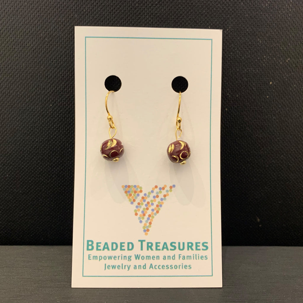 Brown Meena Ball Earrings