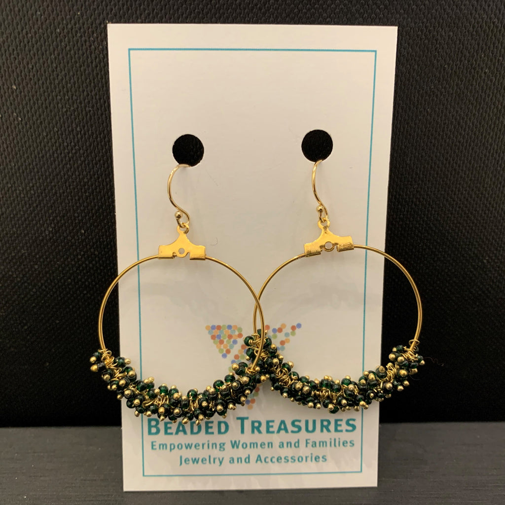 Dark Green & Gold Large Hoops