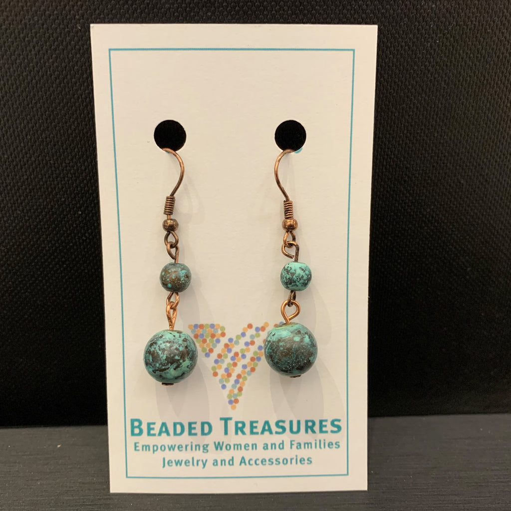 Copper with Teal Balls Dangles