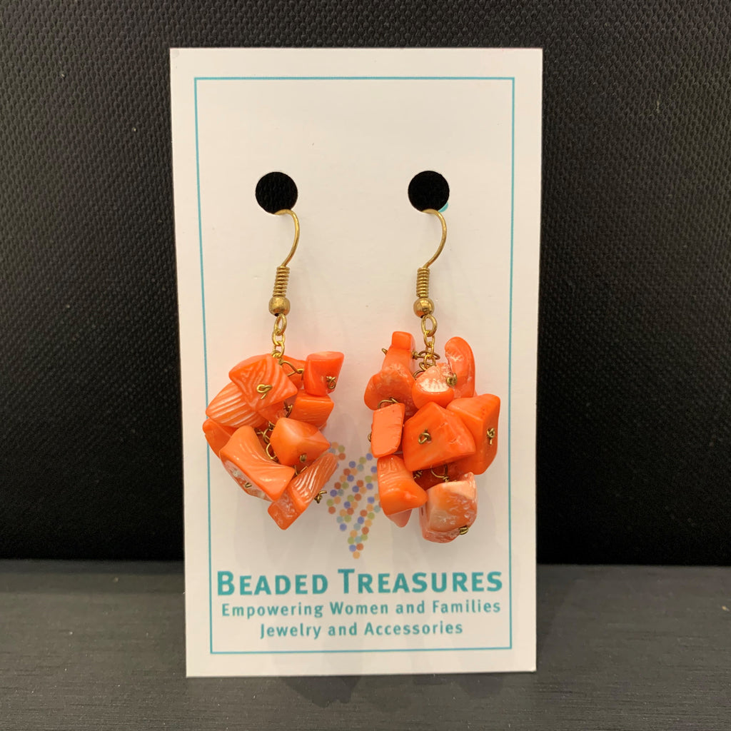 Coral Gem Chip Dangles
