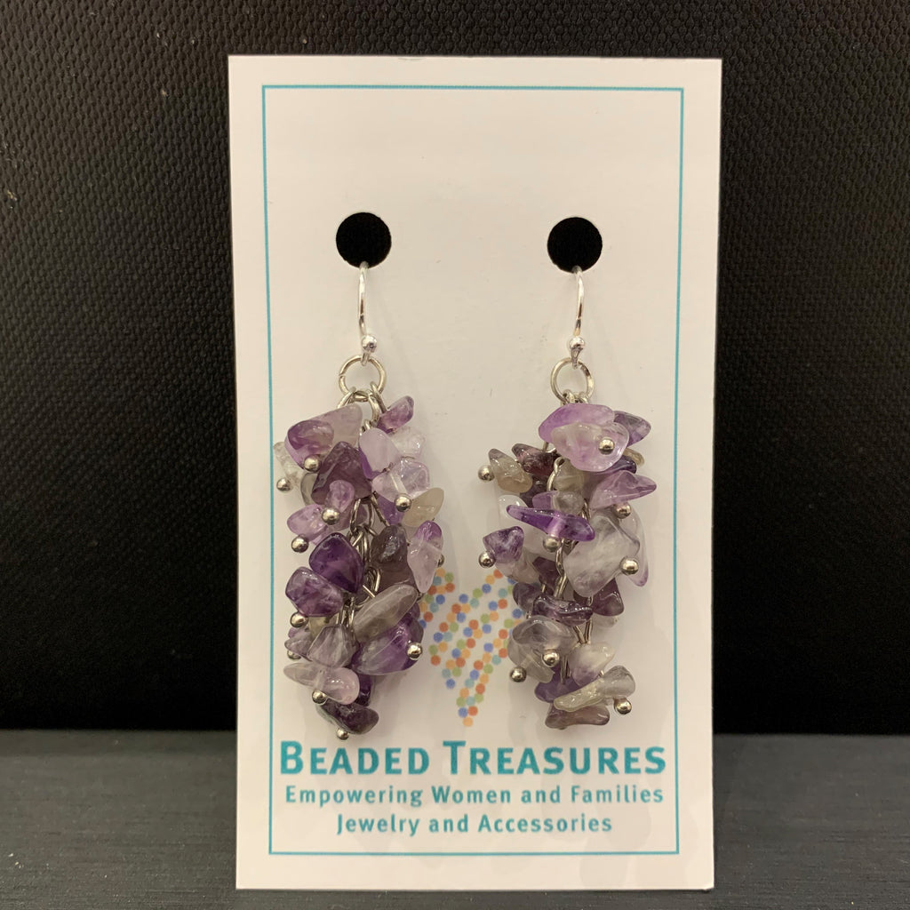Purple Gem Chip Dangles