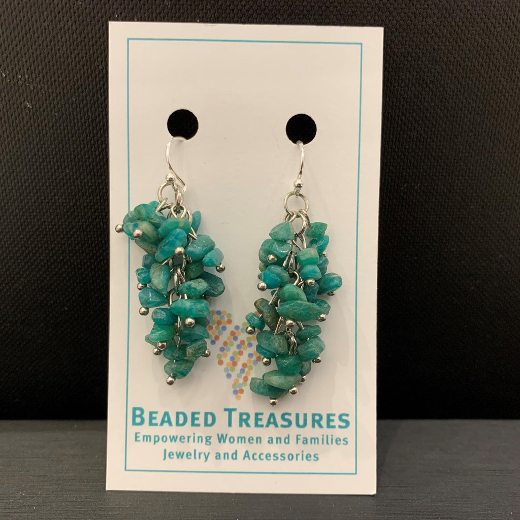 Teal Gem Chip Dangles