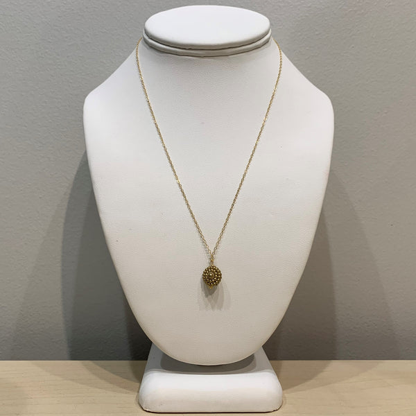 Gold Beaded Pendant Necklace