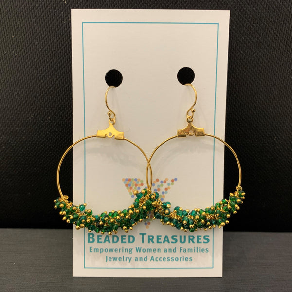 Green & Gold Large Hoops