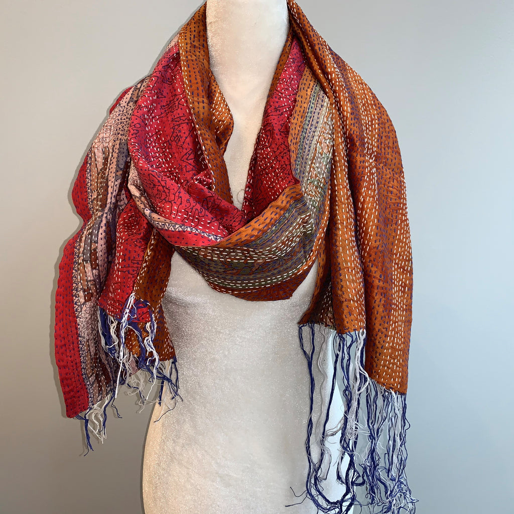 Faith Kantha Silk Scarf