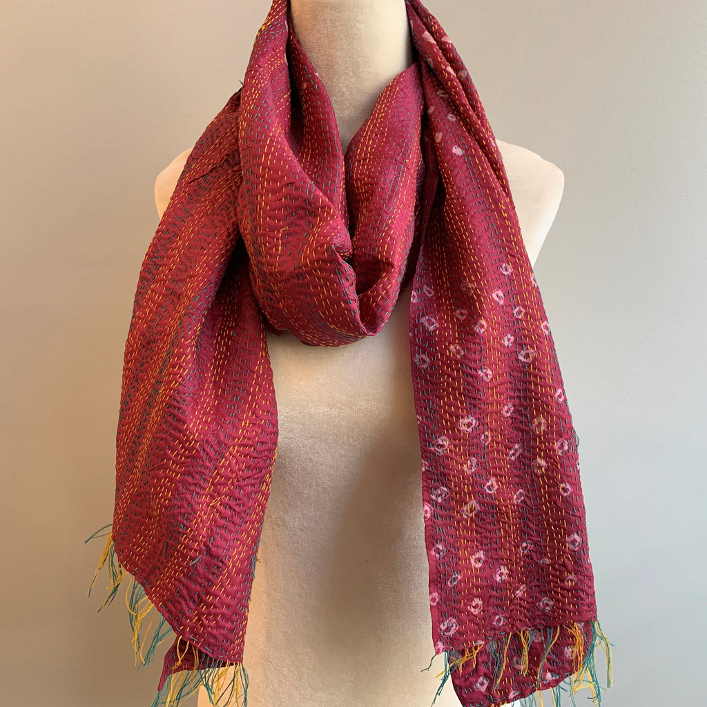 Focused Kantha Silk Scarf