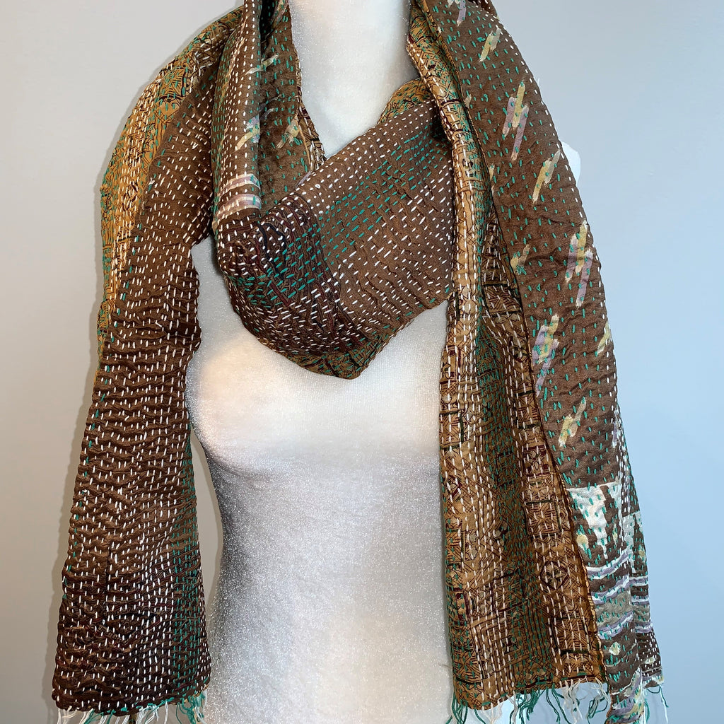 Respect Kantha Silk Scarf