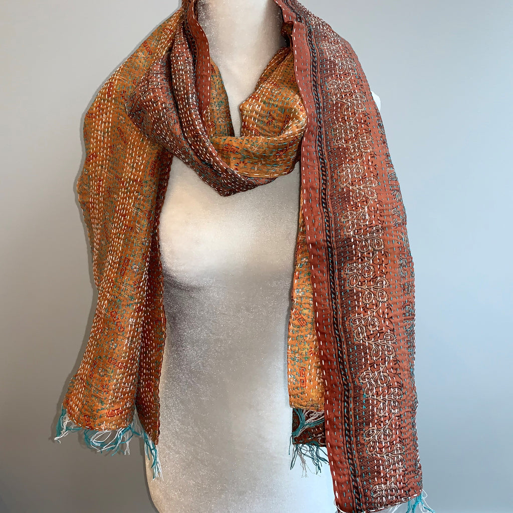 Thoughtful Kantha Silk Scarf