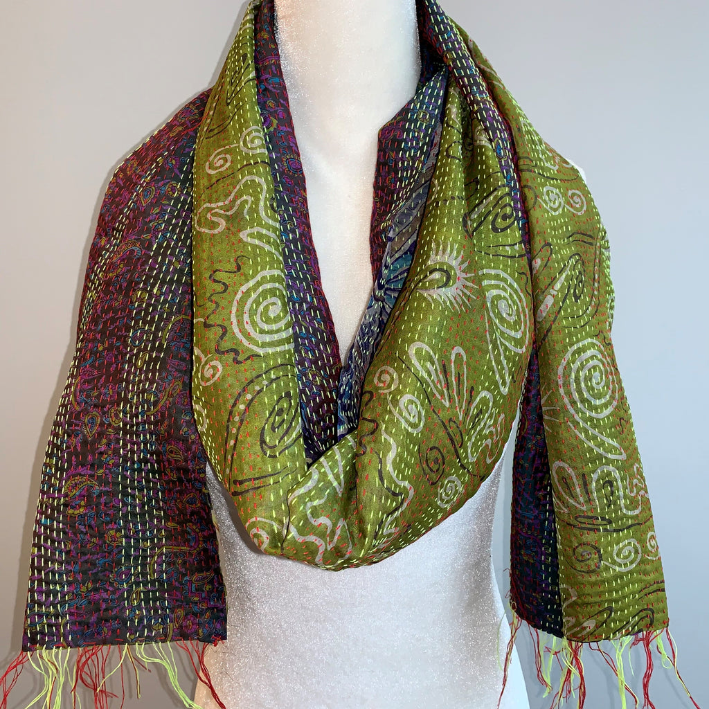Valuable Kantha Silk Scarf