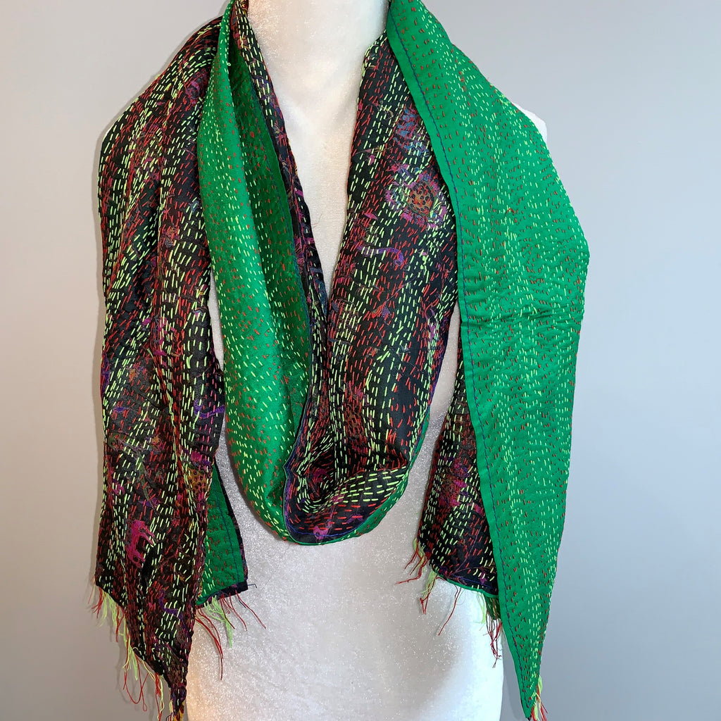 Virtue Kantha Silk Scarf