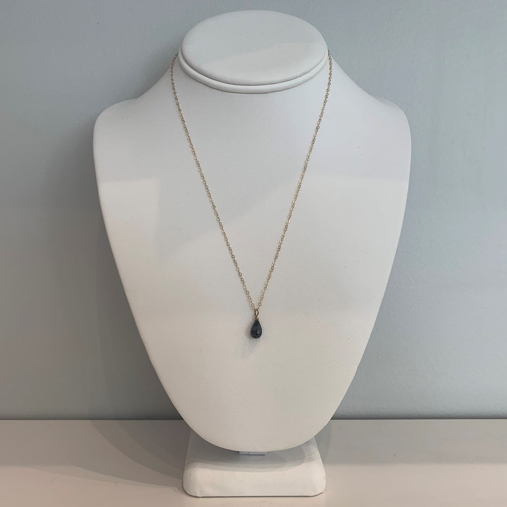 Swarovski Crystal Dark Grey Small Teardrop Necklace