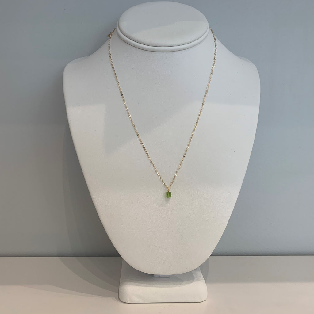 Swarovski Crystal Light Green Small Cube Necklace