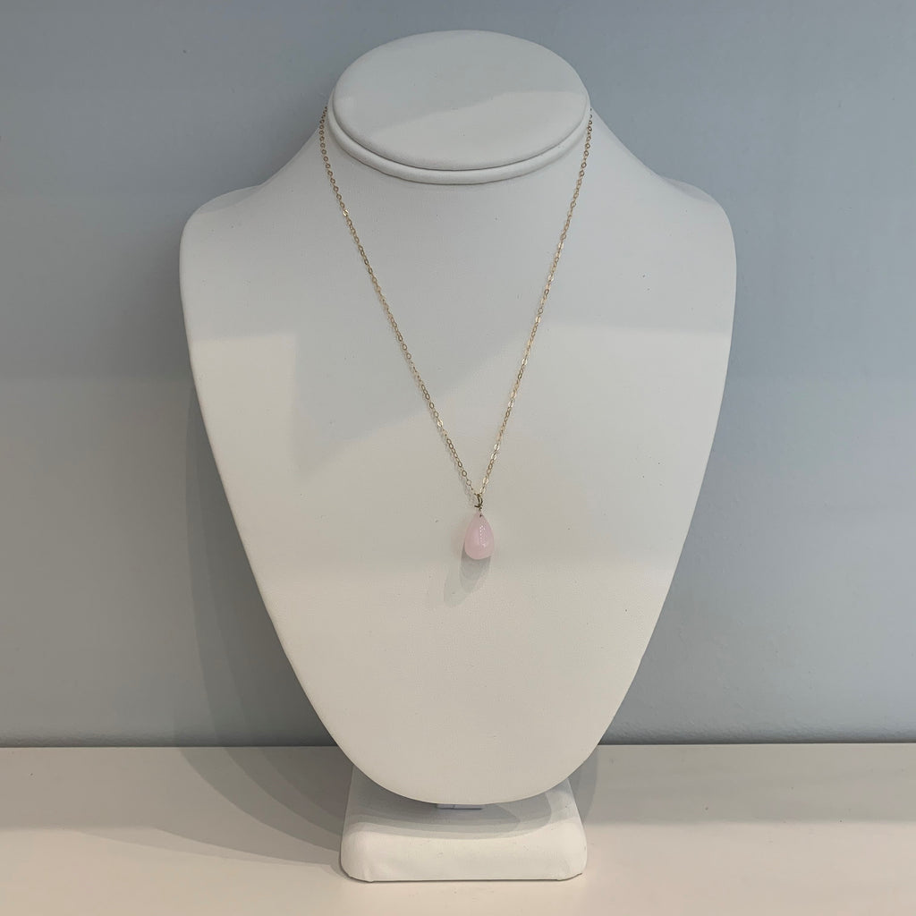 Pale Pink Large Teardrop Necklace