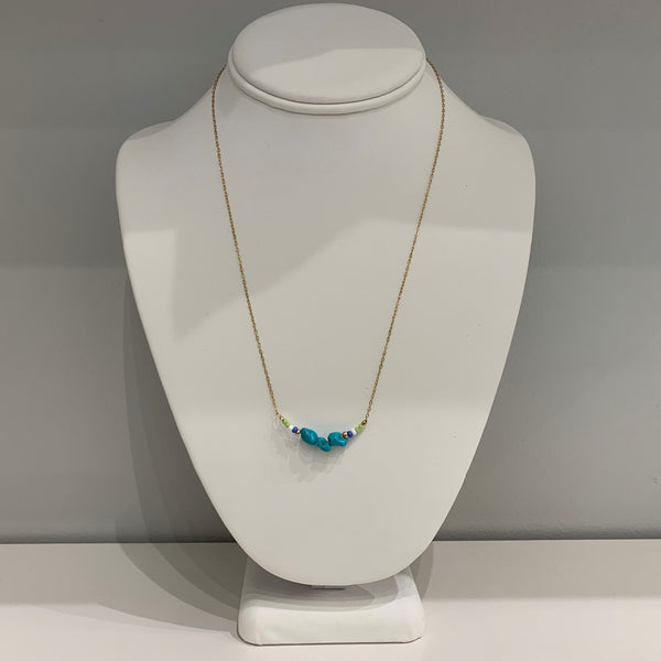 Turquoise Nuggets and Beads Necklace
