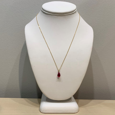 Swarovski Crystal Red Small Teardrop Necklace