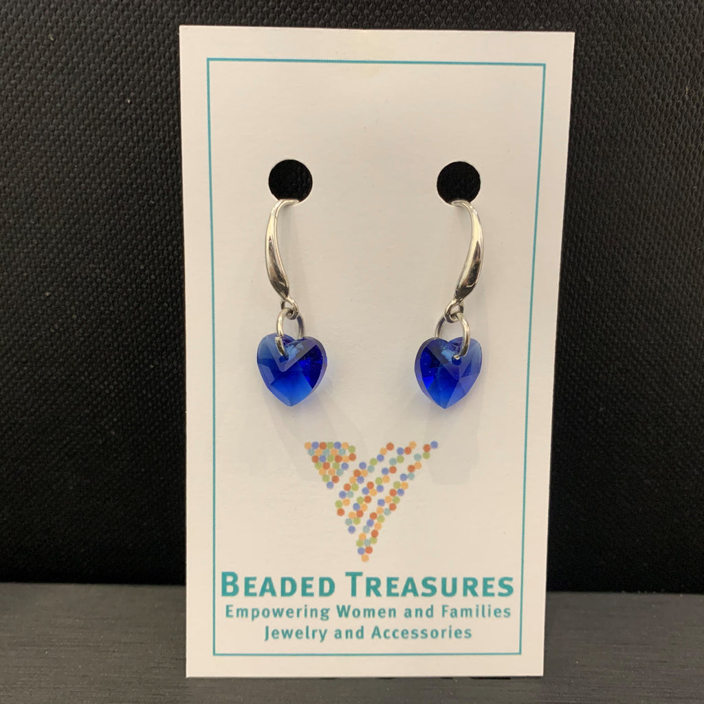 Swarovski Crystal Blue Hearts