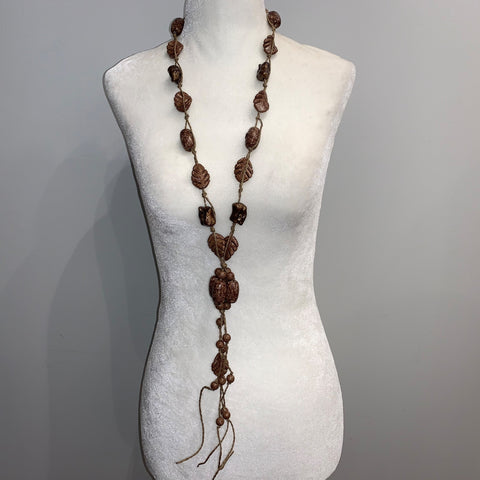 Brown Leaves Long Necklace
