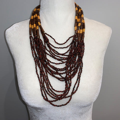 Brown & Yellow Beaded Long Necklace
