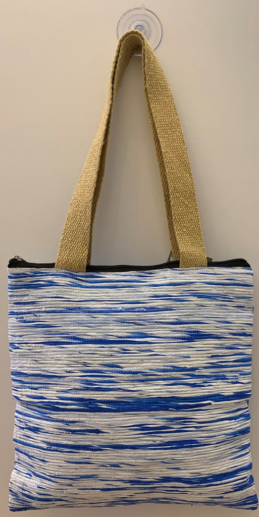 Blue and White Large Tote Bag