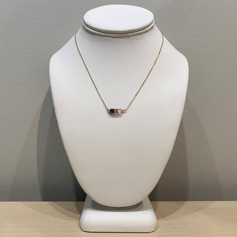 Tri-Stone Purple Pendant Necklace
