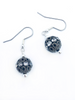 Black ball earrings with gem