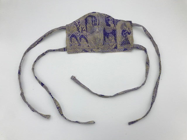 Purple Grey Kantha Style Silk Face Mask with Ties