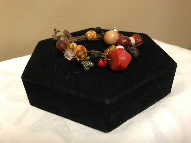 Mixed Beads Knotted Cord Bracelet