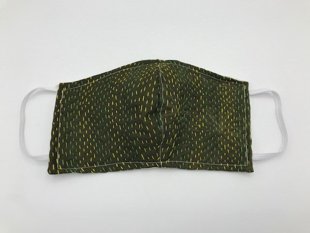 Dark Green Kantha Style Silk Face Mask with Elastic Ear Holders