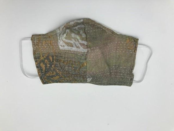 Gray Kantha Style Silk Face Mask with Elastic Ear Holders