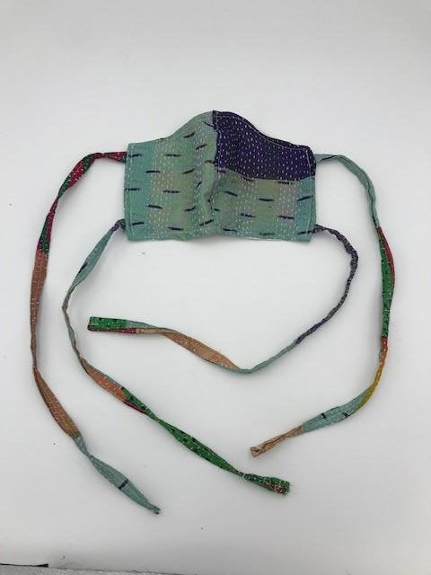 Green Blue Kantha Style Silk Face Mask with Ties