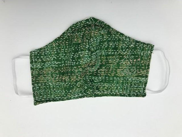 Green Kantha Style Silk Face Mask with Elastic Ear Holders